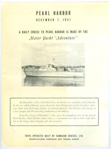 1954 Motor Yacht Adventure, Tour Dec 7 1941 Pearl Harbor Attack, 4 Page Brochure