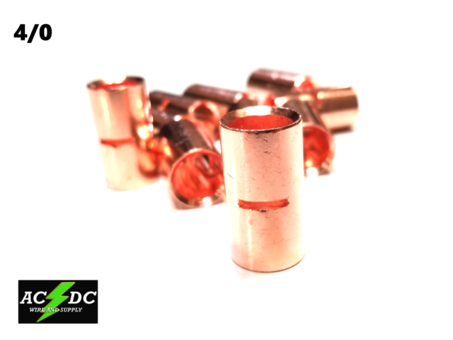 4//0 GAUGE BARE COPPER BUTT CONNECTOR 25 PK CRIMP TERMINAL AWG BATTERY