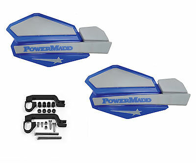 Powermadd Star Series Handguards Guards Tri Mount Blue Silver ATV Yamaha