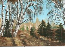 """Aceo original acrylic painting """"B irches and Pines"""" by J. Hutson"""