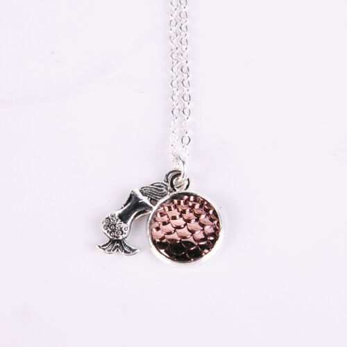 Mermaid Fish Scale Pendant Rainbow Holographic Sequins Long Chain Necklace Gift