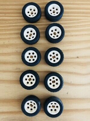 LEGO Lot of 10 Small Black Tires with White Hubs