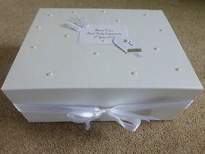 Personalised Christening Keepsake memory Box first holy communion stunning!