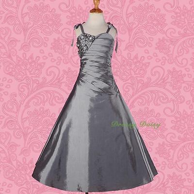 Beaded Taffeta A-Line Wedding Flower Girl Bridesmaid Party Dress Size 2-12 #167