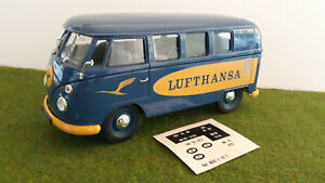 VOLKSWAGEN COMBI 1966 vitré LUFTHANSA 1/19 no 1/18 SOLIDO 8031 voiture miniature