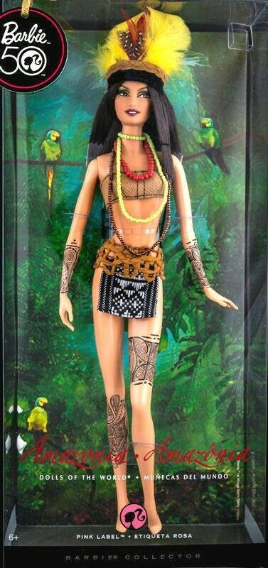 BARBIE AMAZONIA DOLLS OF THE WORLD NRFB - rosado LABEL new model muse collection