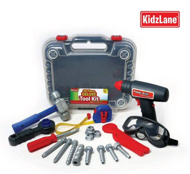 3a33f96d1287 Kidzlane Kids Tool Set with Electronic Cordless Drill and 18 Pretend Play  Construction Acs
