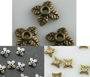100pcs-Retro-Silver-Golden-Bronze-Tone-Leaf-Bead-Caps-6mm-U-Choose-Color