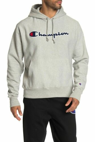 Details about  /Men/'s Champion Reverse Weave Fleece Pullover Hood Oxford Grey GF68Y07470 NWT