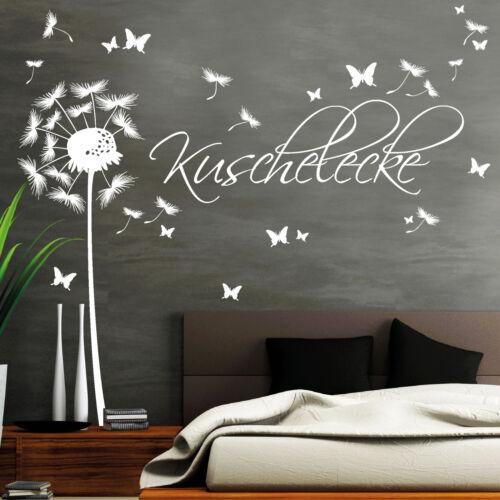 Wandtattoo Schriftzug Kuschelecke Pusteblume Pollen Schmetterlinge 11190