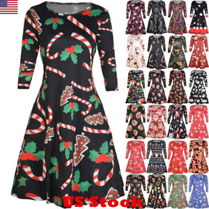 8a8c2de55c USA Women s Xmas Santa Reindeer Christmas Printed Party Flared Swing ...