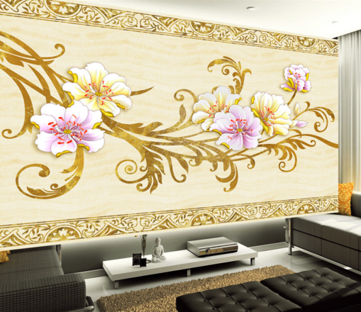 3D Vines Petals 5656 Wallpaper Murals Wall Print Wallpaper Mural AJ WALL UK Kyra