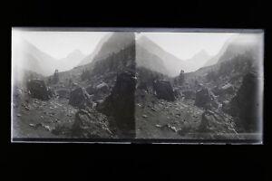 Montagne Francia Cauterets Foto Stereo L2n18 Vintage Placca Da Lente Negativo
