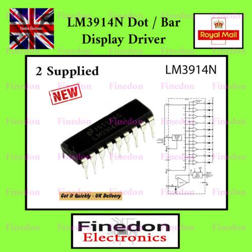 2 x LM3914N DOT//BAR DISPLAY DRIVER IC UK Seller