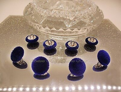 """Velvet Fabric Covered Buttons Deep Blue /""""ENGLAND/"""" Metal color Silver size 23mm."""