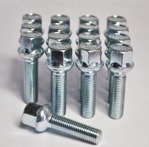 4 x M14 x 1.5 45mm Thread Zinc Radius Wheel Bolts