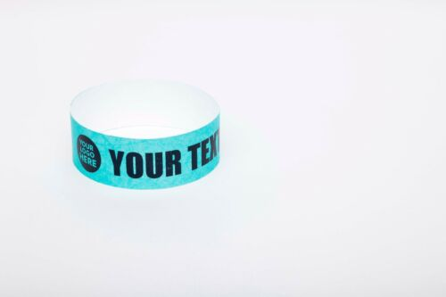 "100 Custom Printed Aqua 1/"" Tyvek Paper Wristbands for Events,Festivals,Parties"