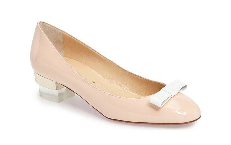 Christian Louboutin Bibababy 35 Mm Poudre Patent Leather Bow Pump Flats shoes 39