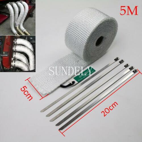 """White Exhaust Heat Wrap High Temp Manifold Front Pipe Exhaust Shields 2/"""" x 5M"""