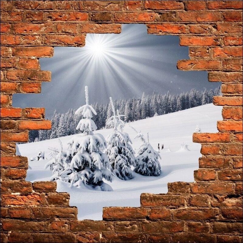 Sticker mural trompe enneigée l'oeil Montagne enneigée trompe 799 9b3d82