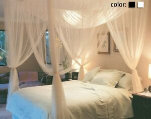 Queen-King-Size-Home-4Corner-Post-Bed-Mosquito-Net-Bar-Curtain-Netting-Canopy-US
