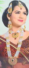 Kundan White Moti Rani Haar Necklace Earring Tika Set For Bridal Women