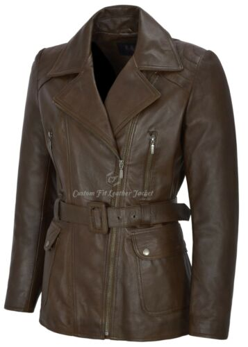 coat en 100 brun cuir Real femmes pour Mid Length 222 Bs Trench Classic SqfxwHOdqa