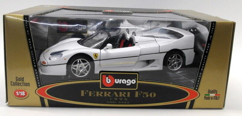 Burago 1   18 skala druckguss 3352 ferrari f50 1995 cabrio weiße modell - auto
