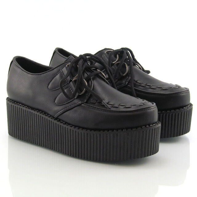23e81bbc6c04 Ladies Lace up Flat Double Platform Womens Goth Creepers Punk Wedge ...