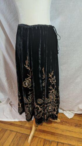Vintage Bonnie Strauss velvet silk sequin rhinesto