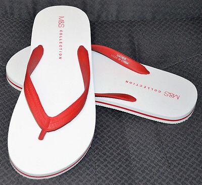 Para Hombre M&S Flip Flops/Beach sandles/Zapatillas-Talla M - 8 - 9-Blanco-Bnwt