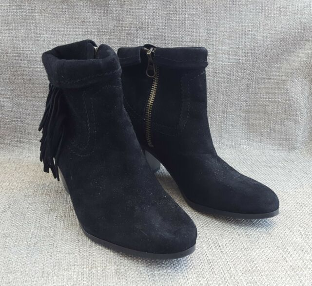 c63356145 Sam Edelman Louie Womens 9 M Black Suede Leather Fringed Ankle BOOTS ...