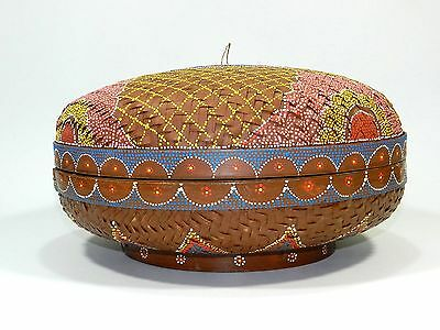 Woven Basket With Lid Round Hand Painted Sewing Knitting Bag