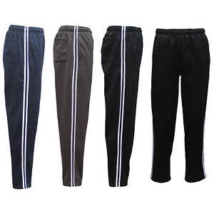 Mens-Fleece-Lined-Track-Sweat-Pants-Casual-Tracksuit-w-Stripes-Breathable-Mesh
