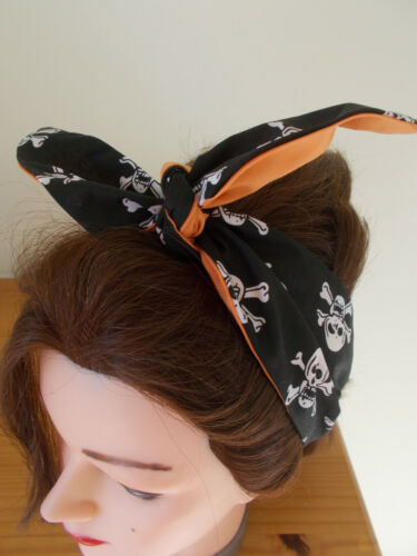 HEAD SCARF HAIR BAND BANDANNA SKULL BLACK ORANGE HALLOWEEN ROCKABILLY PIRATE