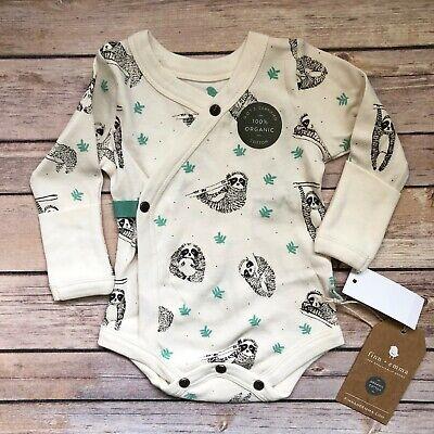 Finn Emma Baby Short Sleeve One Piece Bodysuit 100/% Organic Cotton Sloth New