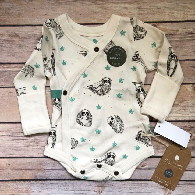 c58a34037 Finn + Emma Baby One Piece Bodysuit 100% Organic Cotton Sloth 0-3 Months