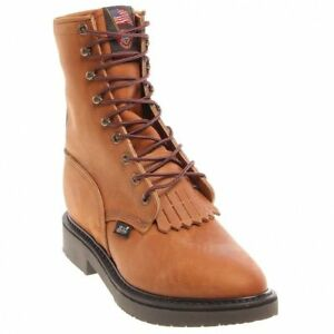 251bfbc1fa8 Details about Justin Men's Brown Aged Bark Round Toe Lace-Up Medium & Wide  Work Boots 760 NIB