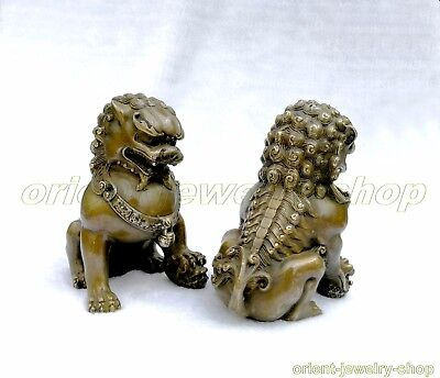 Rare Tibet Silver Fu Foo Dog Guardian lion Bronze Statue Pair 20cm