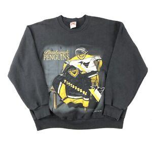 Vintage-90s-Pittsburgh-Penguins-Crewneck-Sweatshirt-Size-Large-Nutmeg-USA-Hockey
