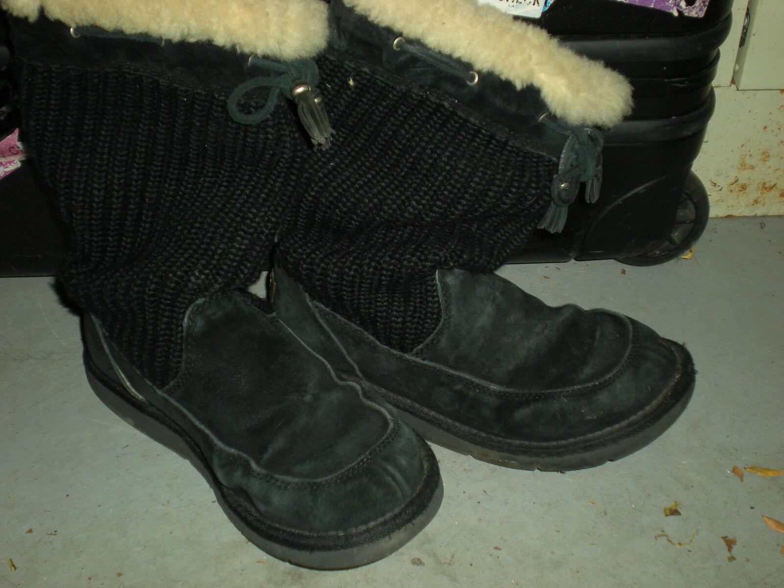 UGG Australia Bottes d hiver en cuir de mouton noires avec cordon de serrage pour dames, taille 8