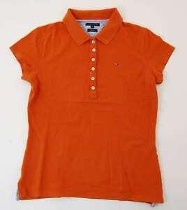Tommy-Hilfiger-Slim-Fit-Poloshirt-Polohemd-Damen-Gr-M-orange-uni-Pique-S1015