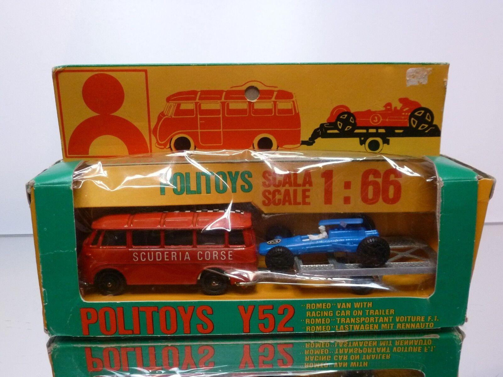 POLITOYS Y52 ALFA ROMEO VAN + F1 CAR ON TRAILER - 1:66 VERY RARE- GOOD IN BOX