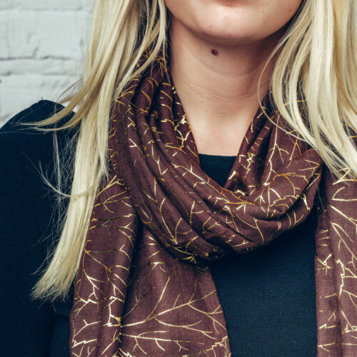 Ladies Ludmila Brown Soft /& Warm Polyester Large Scarf with Gold Leaf Print