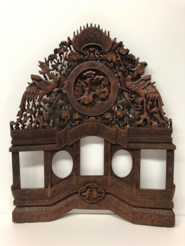 Antique Wooden Artwork Chinese Indonesia Bali Incredible Detail Dragons Battle