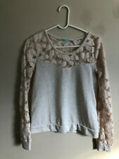 Urban Outfitters Pins And Needles Kimono Sleeve Ivory Stretch Lace Crop Top M/&L