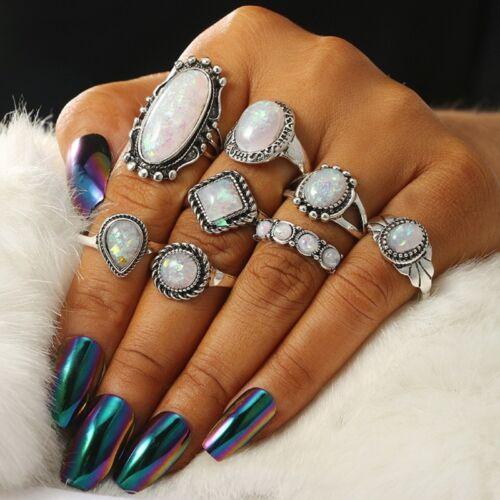 8pcs Boho Opal Stone Finger above Knuckle Band Midi Rings Stacking Ring Set