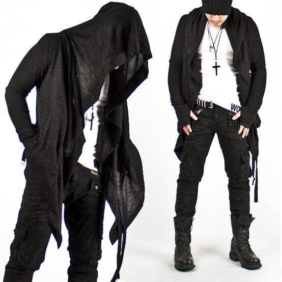 New Mens Fashion Mod Avant-garde Dark Punk Hood Charcoal Cape Cardigan Jacket