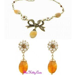 f3ec1ce27eda La imagen se está cargando Oro-Vintage-Lazo-Hollywood-Perla-Agata-Conjunto -Collar-