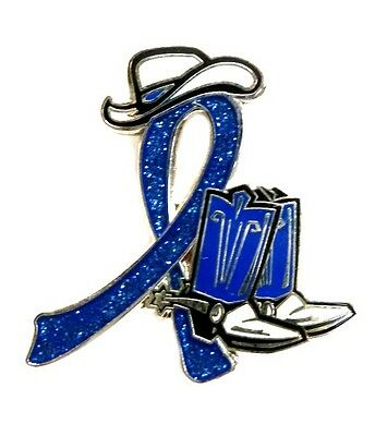 Blue Ribbon Pin Awareness Cowboy Boot Hat Western Colon Cancer Child Abuse New Ebay